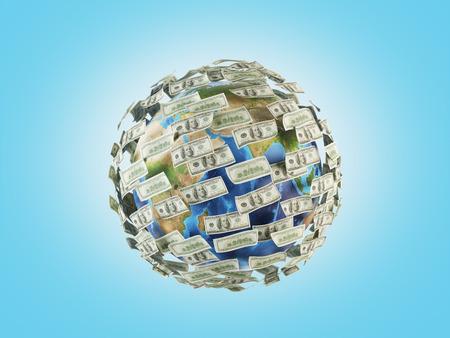 dinero volando: dinero volando alrededor del planeta, 3d