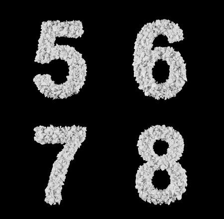 6 7: symbol of fragments, number 5 6 7 8