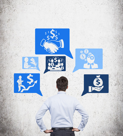 ideas risk: businessman looking on business strategy with icons Stock Photo