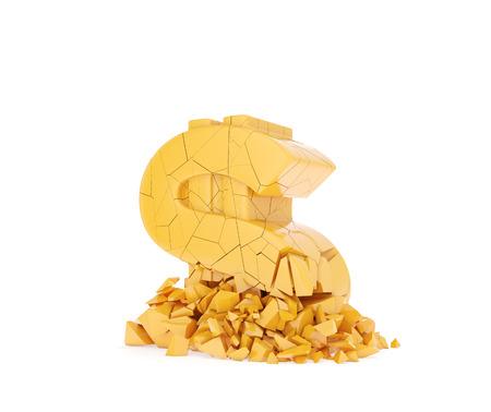 crush on: aplastar el s�mbolo de d�lar amarillo sobre un fondo blanco