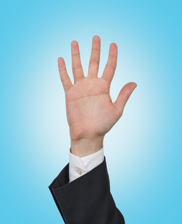 five fingers: hand up with five fingers  isolation on blue Stock Photo