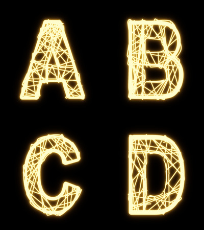 d data: Alphabet of glowing cable, font, letters A B C D Stock Photo