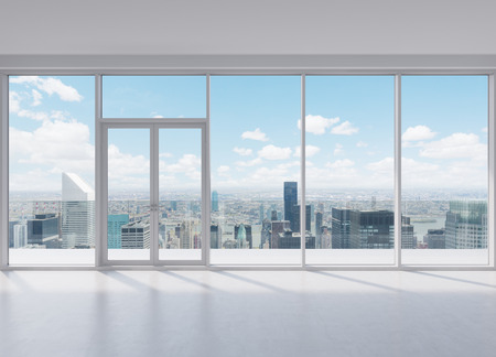 home lighting: modern office with big window with view to skyscraper Stock Photo
