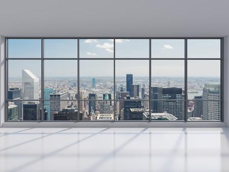 office with big window, 3d render
