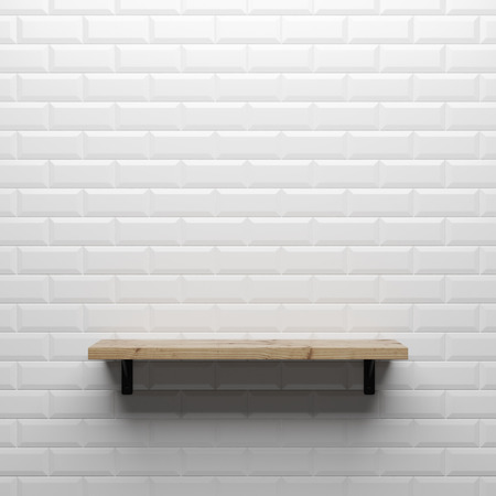 gray concrete wall with shelf, 3d render photo