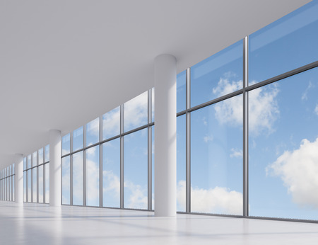 big window: office with big window with view to sky Stock Photo