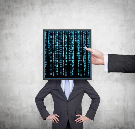 matrix code: hand holding plasma panel with matrix code