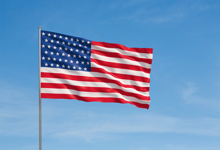 us state flag: Waving flag of usa on a sky background Stock Photo
