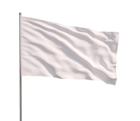Waving white flag  on a white background
