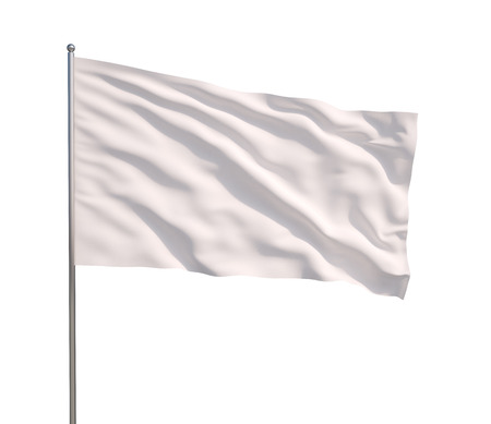 Wuivende witte vlag op een witte achtergrond Stockfoto
