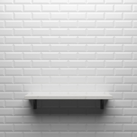 gray brick  concrete wall with shelf, 3d render photo