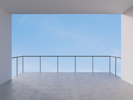 balcony design: room with balcony with view to sky