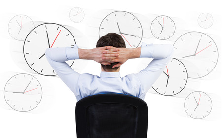 long hours: businessman sitting in the office,  long hours of work Stock Photo
