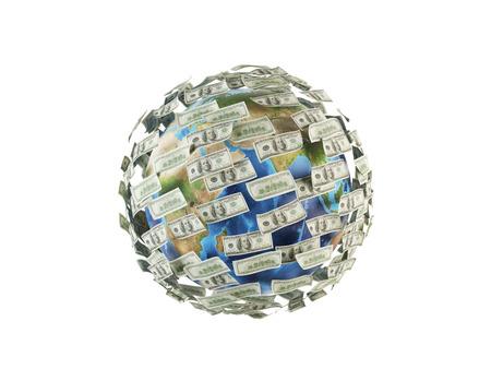dinero volando: dinero volando alrededor de la tierra, 3d