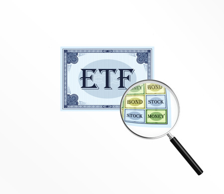 stock exchange brokers: Abbreviation ETF on the white isolated background. Stock Photo