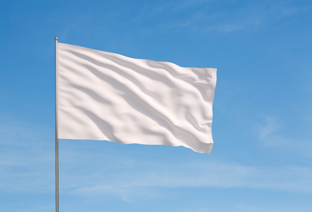 flag: Waving white flag  on a sky background