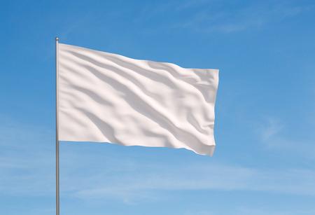 Winken weiße Fahne auf einem Himmel Hintergrund Standard-Bild - 35822694