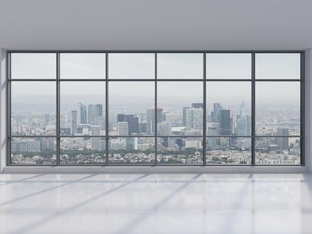 big window: kantoor met groot raam met uitzicht op de stad, 3d render