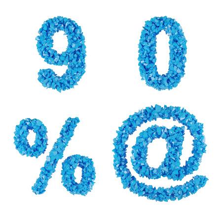 0 9: blue symbol of fragments, number 9 0 @ %