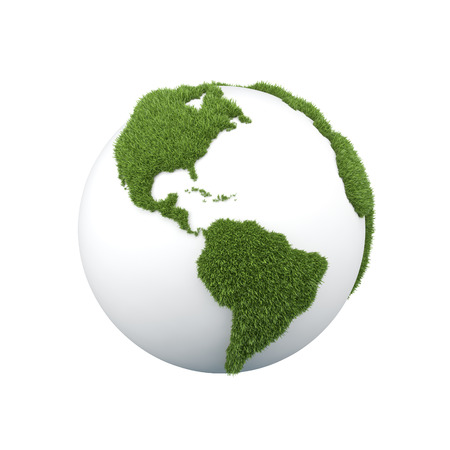 earth with grass africa on a white background photo