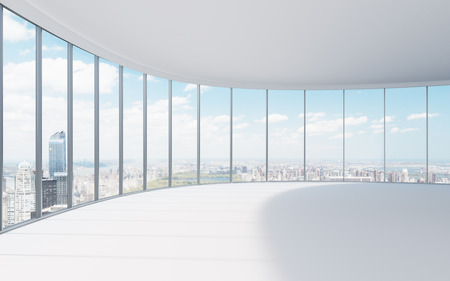 modern office interior and city view, 3d render