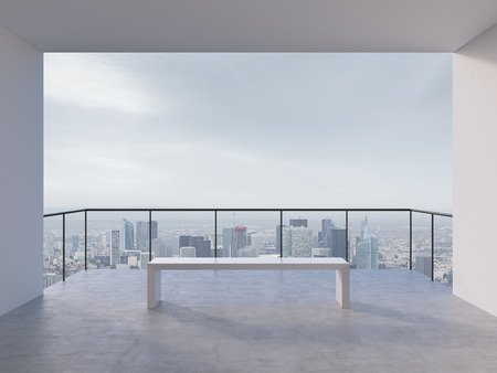 balcony design: room with balcony with view to city Stock Photo