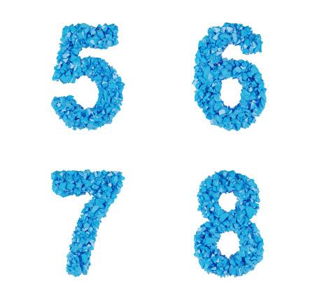 5 6: blue symbol of fragments, number 5 6 7 8