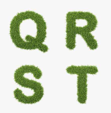 lettre s: lettre de l'herbe ensemble isol� sur fond blanc