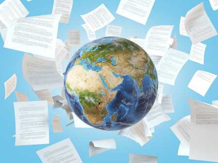 return trip: earth and  falling papers on a background