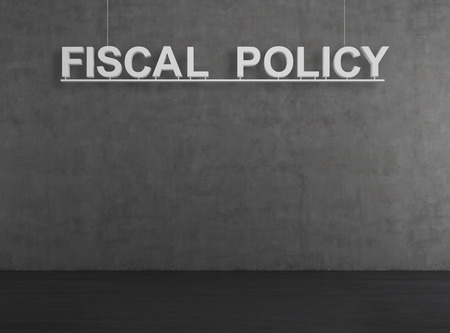 fiscal: concrete room with  fiscal policy text on wall