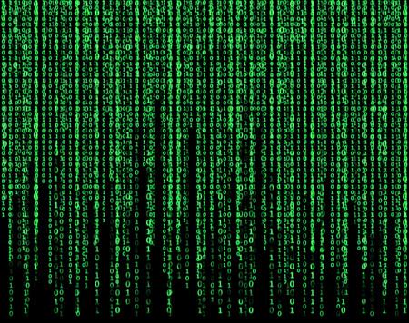 big virtual screen with green matrix
