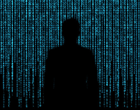 background information: silhouette businessman who is appeared through the matrix background Stock Photo