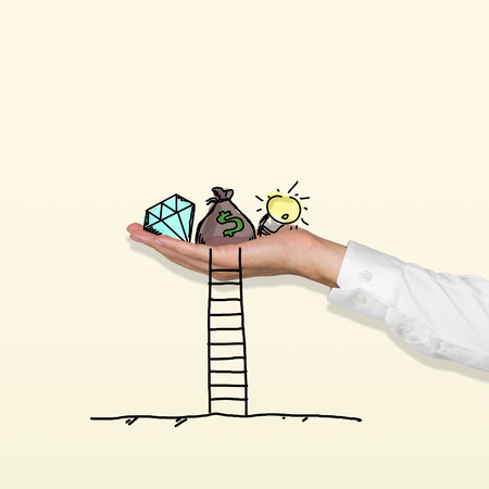 hand holding wealth with ladder photo