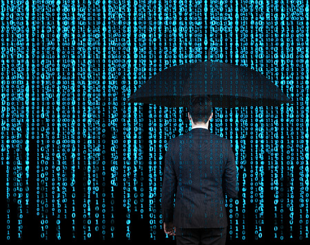 phone number: businessman with umbrella  who is appeared through the matrix background Stock Photo