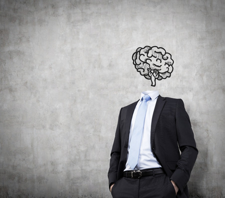 businessman in suit with brain over head