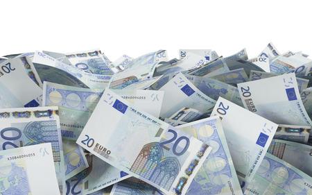 20 euro: 20 euro bills on a white background