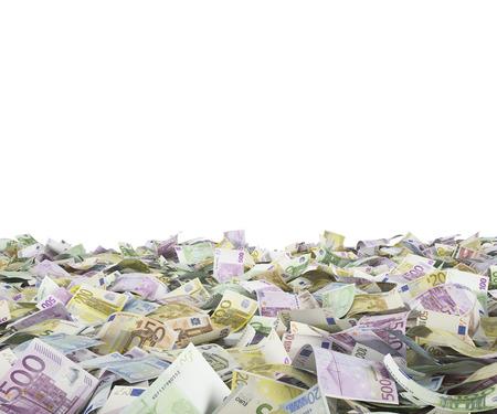 euro banknotes on a white background