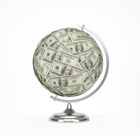 globe with dollar bills, 3d render Stock Photo