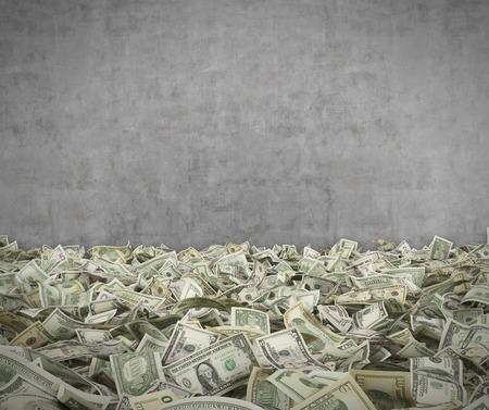 billet de dollar, 3D, render sur concerete fond mur