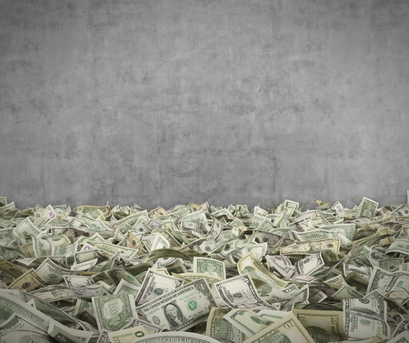 dinero volando: billete de d�lar, 3d sobre fondo de pared concerete