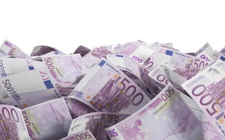 500 euro bills on a blue background photo