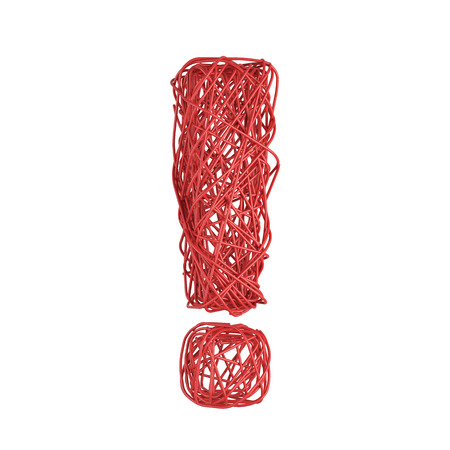 interjection: red exclamation mark of wire on white background