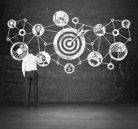 metas: empresario dibujar concepto objetivo en la pared