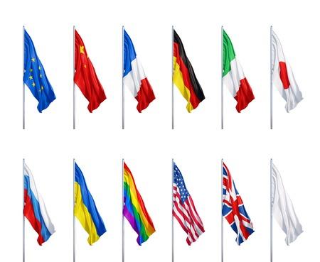 bandera reino unido: muchas banderas en un fondo blanco Foto de archivo