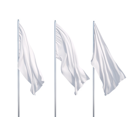 three waving white flags  on a white background