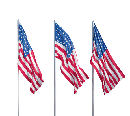 us flag: three waving flags of usa on a white background Stock Photo