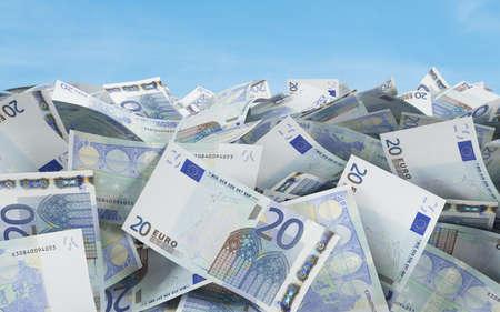 20 euro: 20 euro bills on a blue background