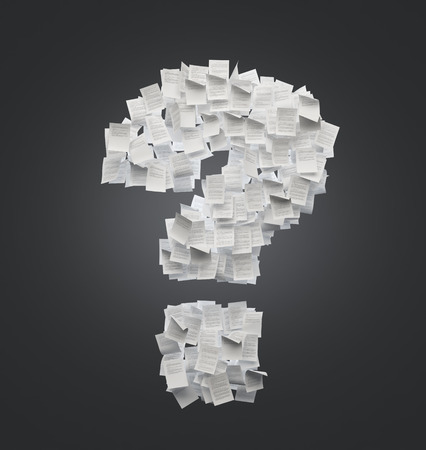 undetermined: question mark of sheets of paper isolation on black