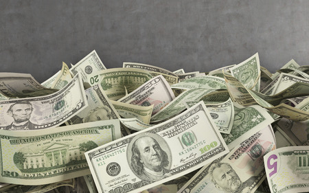 pay wall: dollar bills, 3d render on concerete wall  background
