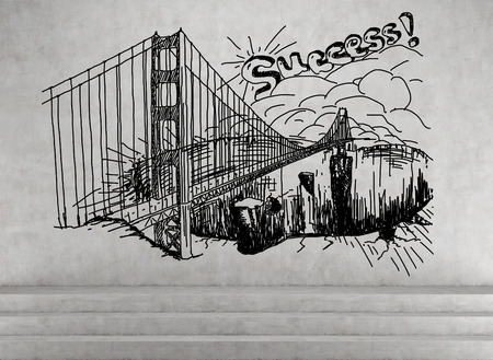 toll free: drawing bridge on a concrete wall Stock Photo